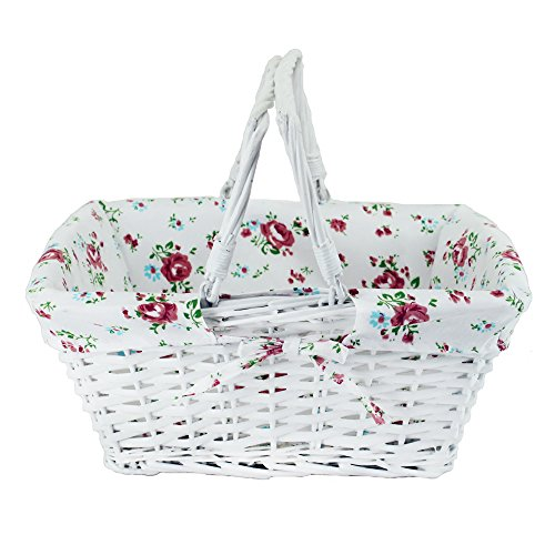 Wicker White Storage Gift Basket Willow Woven Picnic Basket with Double Folding Handles,Kingwillow. (White)