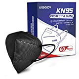 KN95 Face Mask, 60pcs Vibeey Individually Wrapped Cup Dust Mask, 5-Ply Layer Filter, Efficiency≥95%, Against PM2.5 Dust Disposable Respirator KN95 Face Masks Black