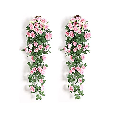 Rosa artificial, 2 unidades de plantas artificiales, guirnalda de flores para colgar, decoración para oficina, casa, fiesta, boda, longitud de 90 cm