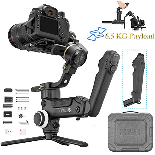 Zhiyun Crane 3S 3-Axis Gimbal Stabilizer DSLR Video Gimbal for Sony A7M3 A7R3 A6500 A7R2 Canon 1DX II 6D 5D IV Panasonic GH4 GH5 GH5S Nikon D850 Blackmagic,6.5kg Payload(with Smart handhle)