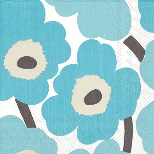 "Boston International IHR Marimekko Paper Lunch Napkins, 6.5"" x 6.5"", Unikko Turquoise -  Ideal Home Range, 552642"