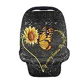 GOSTONG Butterfly Sunflower Nursing Cover for Breastfeeding Car Seat Cover Nursing Scarf Breastfeeding Soft Car Seat Canopy Breathable Multipurpose Design Light Blanket Stroller Cover
