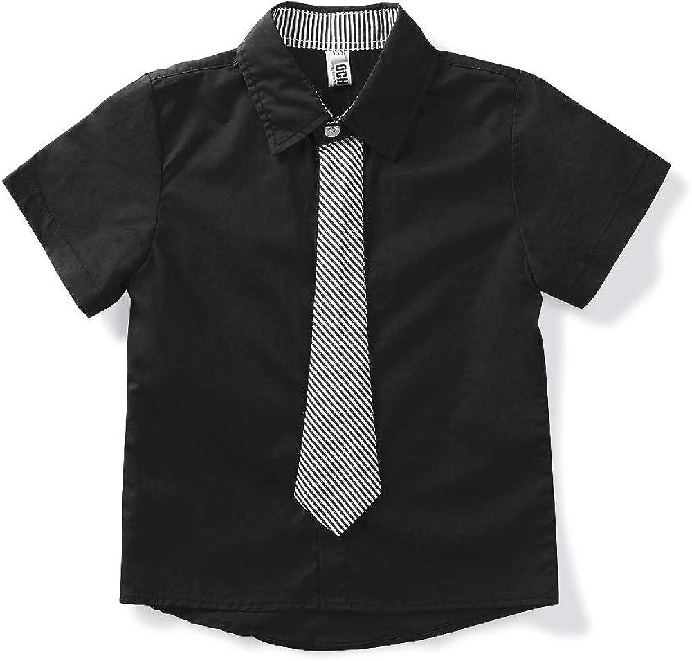 Phorecys Little Big Boys Short Sleeve Uniform Dress Button Down Shirt with Tie