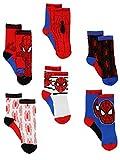 Super Hero Adventures Spider-Man Baby Toddler Boys 6 pack Athletic Crew Socks (12-24 Months, Red/Blue)