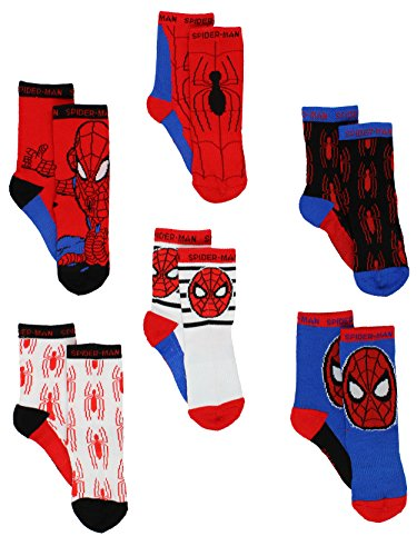 Spider-Man Boys 6 pack Athletic Crew Socks (2T-3T, Red/Blue)