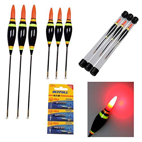 THKFISH Angeln Schwimmt, 3Stück 6g /0.21oz Elektronisch LED Angeln Schwimmt Bobbers Leuchtend Balsa Holz Beleuchtung Angeln Schwimmt
