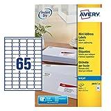 Avery J8651-25 Mini Etichette adesive bianche, 38.1 x 21.2mm, 65 etichette per foglio, con...