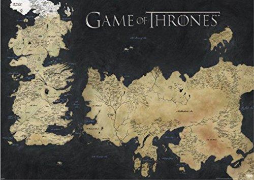 1art1 Game of Thrones - Landkarte Von Westeros Und Essos, Die Welten Von EIS Und Feuer XXL Poster 140 x 100 cm