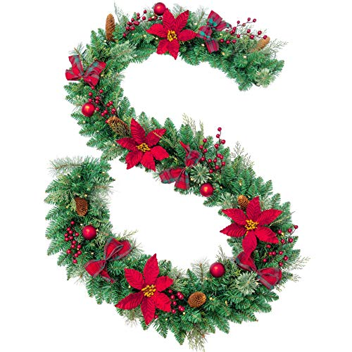 AMERZEST Pre-lit 9ft Christmas Garland with Red Berries and Balls,Pine Cone,Plaid Bows,Poinsettias and 70 Battery Operated Soft White LED Lights with Timer,Artificial Holiday Decoration Door Outdoor
