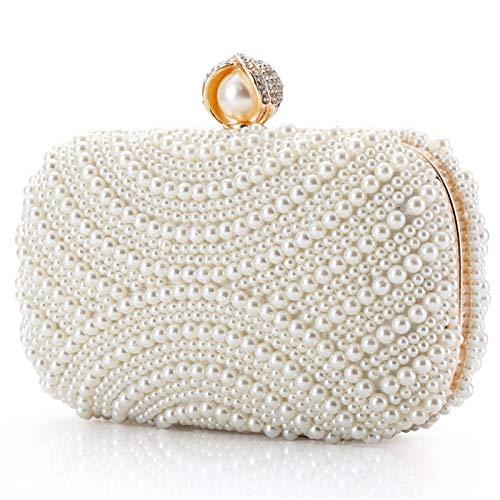 LONGBLE Damen Clutch Perlen Weiß Abendtasche für Party Hochzeit Frau Geschenk Tasche Elegant Handtasche klein Brauttasche Kettentasche Umhängetaschen Schultertaschen