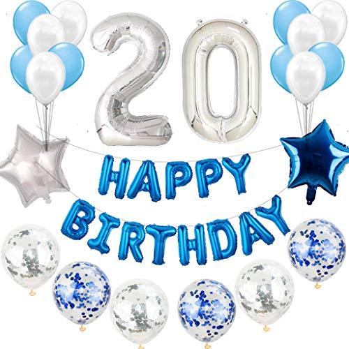 20° compleanno decorazione blu argento uomo set decorazione compleanno Babbo Natale blu bianco set 20 anni compleanno decorazione blu argento 20 anni per uomo Happy Birthday ghirlande