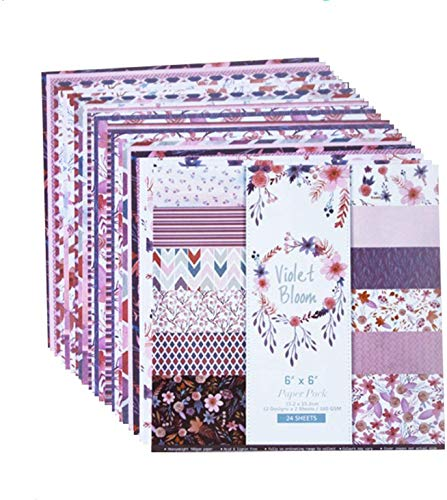 DSYLAI 24 Sheets Violet Bloom Scrapbooking Paper,Violet Bloom of The Flower Patterned Papers Pad 6×6 Inch Pretty Background Craft Sheets Backdrop Pages for Scrapbooking DIY Holiday Photo Album