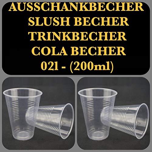 200-6000 STK. Qualitäts Ausschankbecher 0,2l (200ml Ø70mm) Einwegbecher Colabecher Trinkbecher Kaltgetränkebecher Plastikbecher Transparent Made in Europe (200)