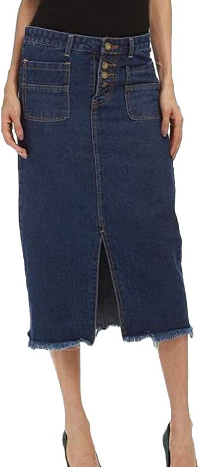 Pcutrone Womens Denim Distressed High Waist Button Cut Off Split Bodycon Skirts