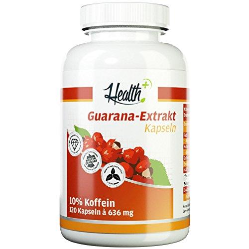 HEALTH+ Guarana-Extrakt - 120 Kapseln, hochwertiger Extrakt mit 10{ead18ca5a9108063f08697f6cfd14e5bdd51939e281ab3e3b7e807a1b96917a7} Koffein - ohne Zusätze, Guarana Kapseln für den natürlichen und langanhaltenden Energie-Kick - hohe Verträglichkeit, Made in Germany