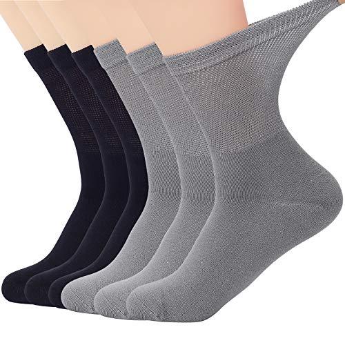 Softfeeling Womens Ankle Socks Seamless Bamboo Socks Casual Dress Socks Soft Hiking Socks Non-binding Diabetic Socks Long Athletic Cycling Socks Circulatory Crew Socks for Men 3 Black & 3 Grey 9