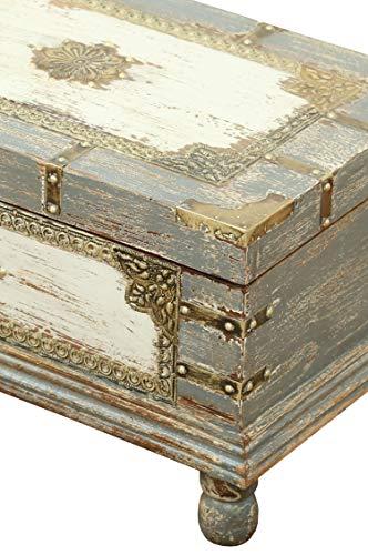 Orientalische Truhe Kiste aus Holz Arjuna Grau - 47cm groß | Vintage Sitzbank mit Aufbewahrung für den Flur | Aufbewahrungsbox mit Deckel im Bad | Betttruhe als Kissenbox oder Deko im Schlafzimmer - 5