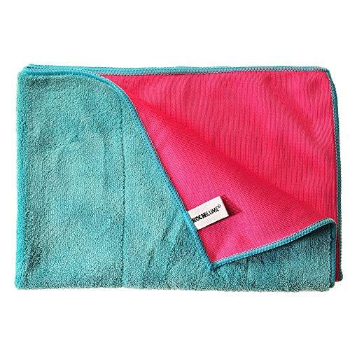 Kochblume Geschirrtuch Set, 5-teilig | Premium Microfaser | Set in der pinken Box (türkis-pink)