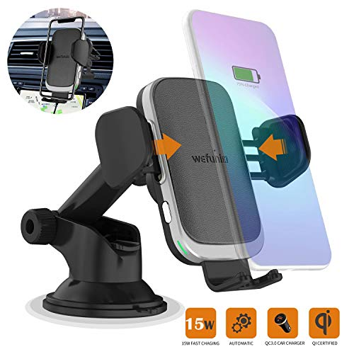 15W Auto Wireless Car Charger Phone Holder Upgraded 2020 Version, Fast Qi Automatic Clamping Charging Mount Dock Compatible for iPhone 11/11 Pro Max/XR/Xs/8, Samsung S20 Ultra S10 S9+ Note 10-Wefunix
