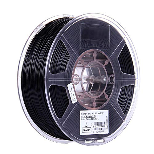 YANHAI PC 3D Printer Filament 1.75mm, With High Toughness and Better Transparent, for 3D Printers,1KG,Black