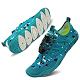 TIAMOU Swim Shoes Womens and Mens Beach Water Shoes Quick-Dry Aqua Socks Barefoot for Outdoor Surf Yoga Exercise Lake Blue