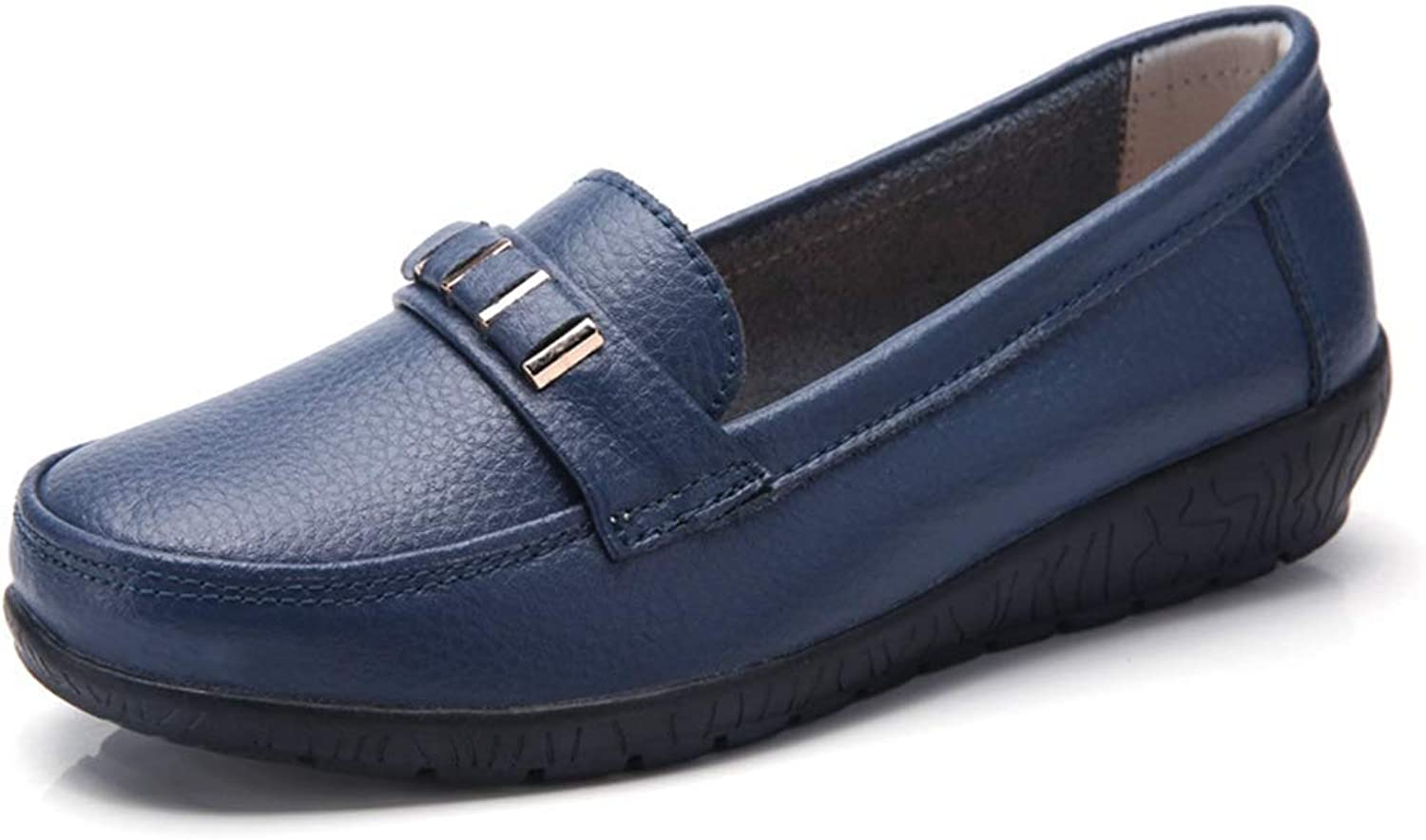 Fashion shoesbox Women's Leather Loafers Casual Slip On Cowhide Round Toe Moccasins Comfort Driving Flats Boat shoes Oxford Loafer