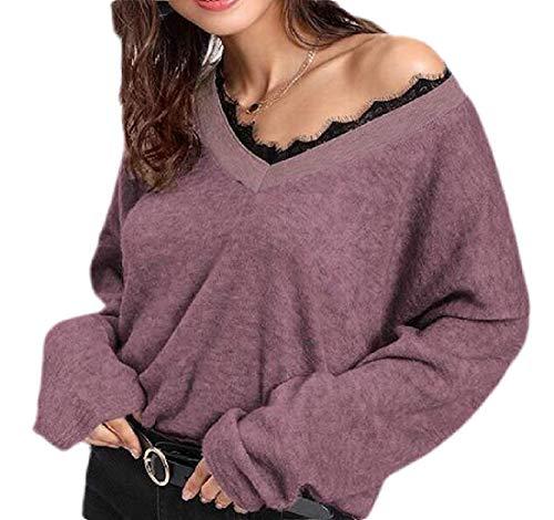 PvezTFi Womens V-hals gebreide trui kant trim oversized casual T-Shirt