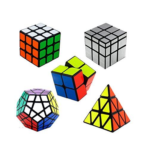 Cubo de velocidad ,Shengshou Würfel Blunt rompecabezas de la aceleración: 2x2 + 3x3 Cubo mágico Cubo Mágico + Cubo + Megaminx Espejo Plata Cubo Cubo + 5 Pyraminx lleno, Negro