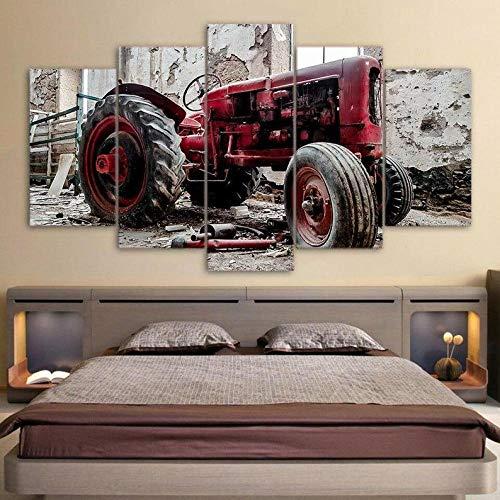 COCOCI Lienzo 5 Piezas Tractor Red Rustic Agriculture Lienzos Decorativos Cuadros Grandes Baratos Cuadros Decoracion Cuadros para Dormitorios Modernos Cuadros Decoracion Regalos Personalizados
