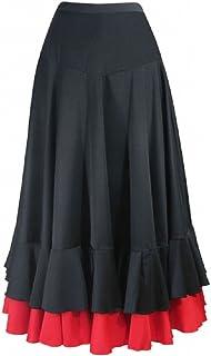 62ea6e3979f Jupe enfant de flamenco Noir rouge 2 volants (Taille 12 142-155CM