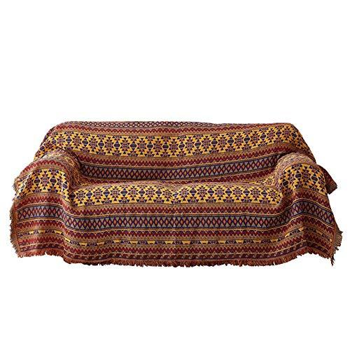 LISEPT Punto Étnico Estilo Geométrico Throw Manta, con Borla Decorativo Antipolvo Completo Funda Cubre Sofá Tribal Patrones para Sala-Amarillo 130x180cm