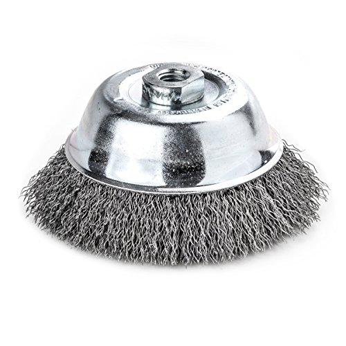 Lessmann 421.167 Topfbürste / Drahbürste | Bürste zum Entrosten, Polieren, Entfernen von Farbe, Schmutz oder Zunder | Werkstoff : gewellter Draht, Umdrehungen pro Minute : 12.000