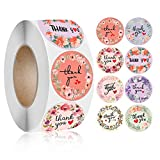 Shsycer 1.5 Inch Thank You Stickers Roll of 500 pcs for Small Business with 8 Floral Designs
