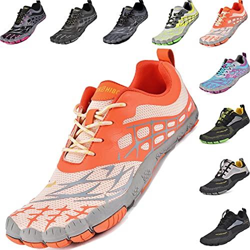 JACKSHIBO Barfußschuhe Damen Barfussschuhe Damen Traillaufschuhe Fitnessschuhe, rutschfest Schnell Trocknend Badeschuhe (Orange,36EU)