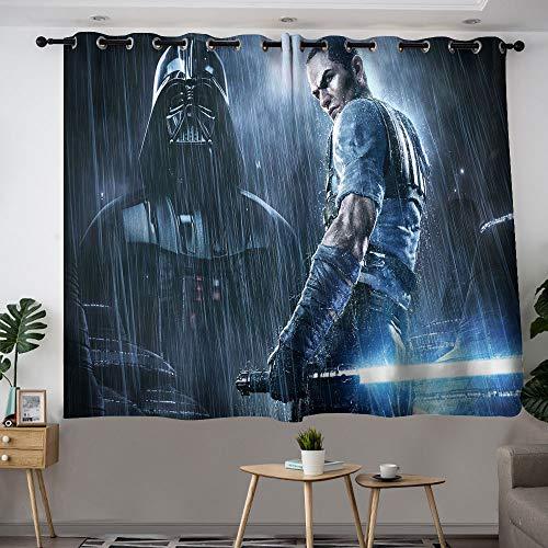 MRFSY Panel de cortina con ojales de Star Wars The Force Unleashed, 2 cortinas opacas con aislamiento térmico para sala de estar de 2014 x 2013 cm