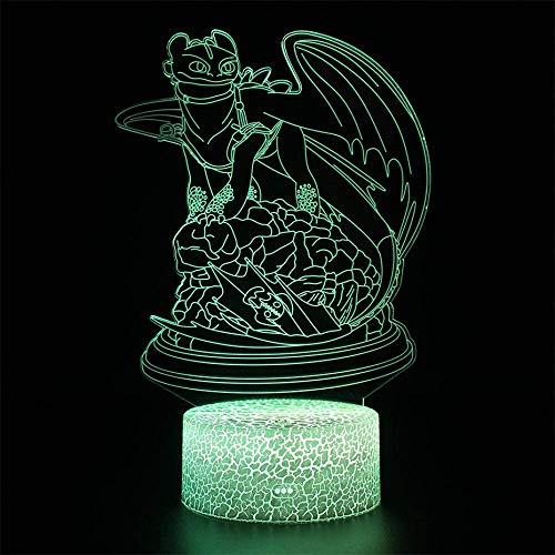 Lámpara 3D ilusión LED luz nocturna sin dientes dragón táctil lámpara de mesa Furia Cómo entrenar a tu dragón 2 niños regalos de vacaciones