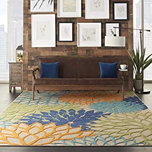 Nourison Aloha Indoor/Outdoor Floral Blue Multicolor Area Rug (7'x10′)