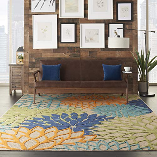 "Nourison Aloha Indoor/Outdoor Floral Blue Multicolor 7'10"" x 10'6"" Area Rug (8'x11')"