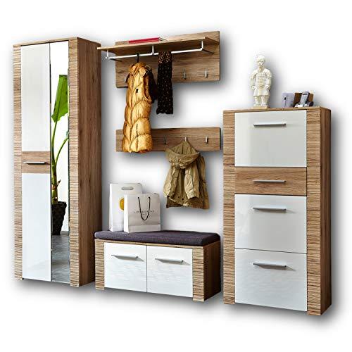 CONTEST X Garderoben Set in San Remo Optik, Weiß - Moderne Flurgarderobe für Ihren Eingangsbereich - 250 x 197 x 36 cm (B/H/T)