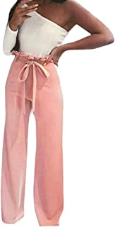 Womens Pants High Waist Solid with Belt Long Bodycon Pants Casual Clubwear