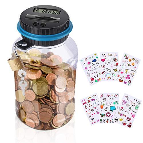 Aokyom Spardosen für Kinder,Piggy Bank Elektronische Spardose für Kinder 1.8L Spardose Groß Sparbüchse Kinder,Spardose Geld mit Schloss und niedlichen Aufklebern Sparbüchse mit Zählwerk für Erwachsene