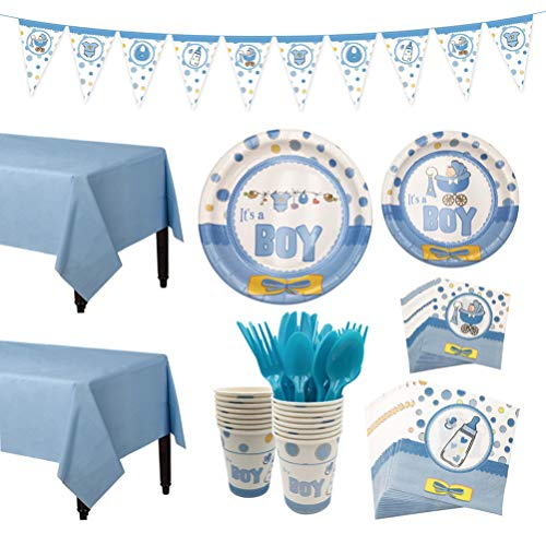 Sale!! Amosfun Baby Boy Shower Party Supplies Set Including Plates Cups Table Napkins Tablecloth and...