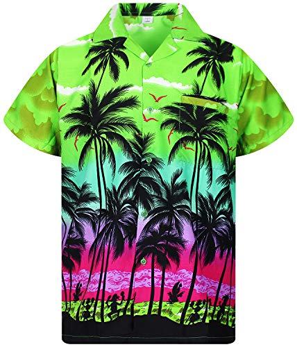 V.H.O. Funky Hawaiihemd, Kurzarm, Beach, grün, L