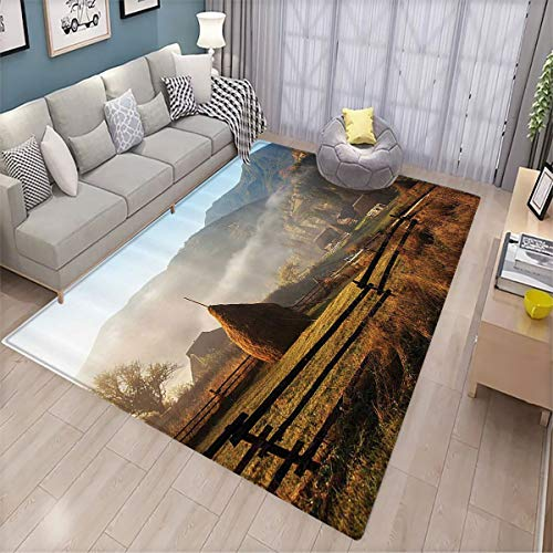 Woodland Decor Soft Rug Morning Mist Haze in Mountain Woodland Autumn Dawn Houses Fences Landscape Doorway Bedroom Floor mat 6'x9'
