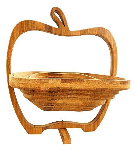 Tinas Collection Faltkorb 2er Set Apfel Bambus Obstkorb zusammenlegbar, Scheidbrett und Dekoration in Einem, 2 Obstkörbe zu einem Preis (Faltkorb 2 Stück)