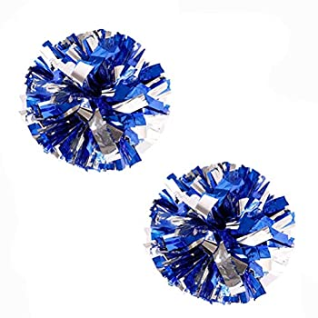 Bstgifts 12  2 Pack Cheerleading Pompoms Metallic Foil & Plastic Ring Pom Poms for Cheer Dance Team  Blue+Silver