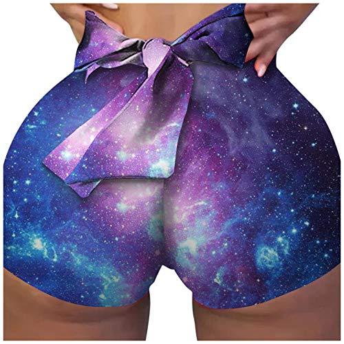 bayrick Yoga Hose Damen Baumwolle,Hohe Taille Mode Stretch Tight Yoga Pants Digitaldruck Fitnesshose-2_M.