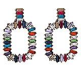 ESIVEL Orecchini Negozio Online Orecchino di cristallo Arcobaleno Multicolore Anello circolare Baguette Orecchini in metalloMulti