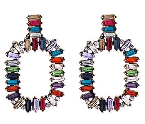 ESIVEL arete Tienda Online Pendiente de Cristal Cristal Rainbow Multi Color Loop Circle Baguette Metal PendientesMulti