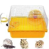 Gabbia per Criceti, Hamster Cage House Ciotola per Animali Portatile per Portatore di Animali Domestici con Ruota e Distributore di Acqua, 23 x 17 x 15 cm (Arancia)